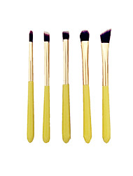 5pc Makeup Brushes Set Synthetic Hair  Wood Handle Lemon Yellow Color Makeup Brush