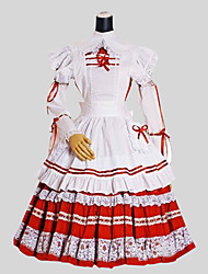 One-Piece/Dress Sweet Lolita Rococo Cosplay Lolita Dress Red White Solid Long Sleeve Tea-length Dress Apron For Women Cotton