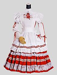 One-Piece/Dress Sweet Lolita Rococo Cosplay Lolita Dress Solid Long Sleeve Tea-length Dress Apron For Cotton