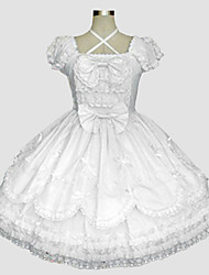 One-Piece/Dress Sweet Lolita Rococo Cosplay Lolita Dress Solid Short Sleeve Long Length Dress Petticoat For Cotton