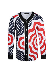 Men's Casual/Daily / Sports / Holiday Vintage / Active / Punk & Gothic Jackets,Print V Neck Long Sleeve Spring / Fall Green Polyester Thin