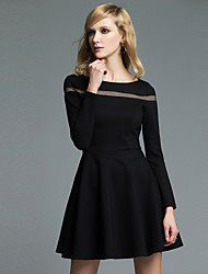 JoanneKitten Women's Casual / Daily / Formal / Work Vintage / Simple / Sophisticated A Line / Little Black Dress Solid Round Neck Knee-length