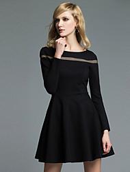 Trapèze Noir Robe Femme Décontracté / Quotidien Habillées Travail Vintage simple Sophistiqué,Couleur Pleine Col Arrondi Mi-longManches