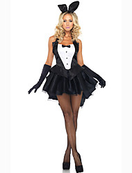 Cosplay Costumes Party Costume Masquerade Cosplay Bunny Girls Movie Cosplay Black Solid Dress Gloves Headwear Halloween Carnival Female