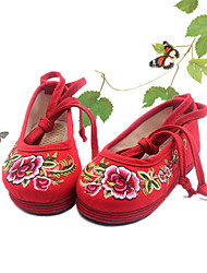 Flats Spring Fall Mary Jane Light Up Shoes Fabric Casual Flat Heel Red