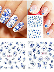 12 styles/sheet Chinese Style Blue and White Flower Water Transfer Nail Stickers