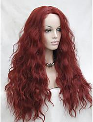 la chaleur de haute qualité résistant sombre ondulée rouge avant de dentelle longue perruque