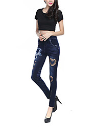Women's Slim Jeans Pants,Casual/Daily Simple / Street chic Print Ripped Mid Rise Zipper / Button / Elasticity Others StretchySpring /