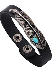 Men's Leather Bracelet Turquoise Punk Personalized Rock Leaf Black Red Light Brown Jewelry 1pc