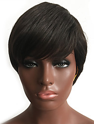 mulheres curto stright peruca de cabelo humano com traje franja lateral festival