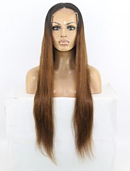 Silky Straight Virgin Brazilian Human Hair Lace Front Wigs with Baby Hair Ombre Two Tone Human Hair Wig for Black Women
