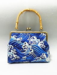 Women Linen Bamboo Handle Retro Sea Wave Handmade Formal / Casual / Event/Party / Wedding Evening Bag