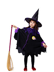 Children Wizard Costumes Pretty Black Fly Witch Costume For Halloween Kids Band Carnival Party Stage Show Cosplay