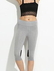 Women Fashion Slim Thin Capri Pants Casual Yoga Fitness Running Solid Color Cotton Blends Legging