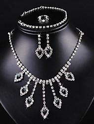 Jewelry Set Rhinestone Imitation Ruby Rhinestone Alloy Classic Fashion White Red Blue Wedding Party Daily 1set1 Necklace 1 Pair of