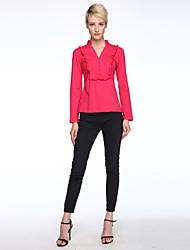 Damen Solide Übergröße / Einfach Lässig/Alltäglich T-shirt,V-Ausschnitt Frühling Langarm Rosa / Weiß / Schwarz Polyester Dünn