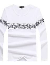 Tee-shirt Hommes,Fleur Décontracté / Quotidien simple Printemps / Automne Manches Longues Col Arrondi Blanc / Noir / Gris Coton Moyen