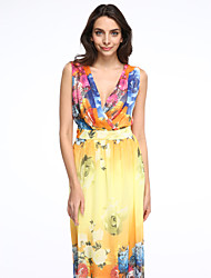 Women's Holiday / Plus Size Boho Chiffon Dress,Print Deep V Maxi Sleeveless Yellow Polyester Summer