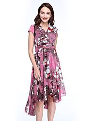Women's Simple Print Chiffon / Swing Dress,V Neck Asymmetrical Polyester