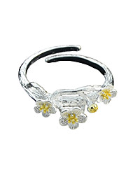 Simple 925 Silver Metal Flower Finger Rings for Ladies