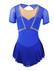 Ice Skating Dress Women's Long Sleeve Skating Skirts & Dresses / Dresses Figure Skating Dress Elastane Blue Skating Wear Outdoor clothing