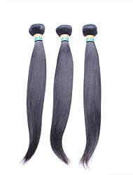 """3 pcs lote 12 """"-26"""" não transformados indiano virgem do cabelo em linha reta cabelo humano remy preto natural tecer feixes / trama"""