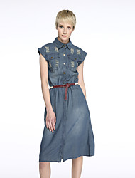 Women's Plus Size / Casual/Daily Street chic Dress,Solid Shirt Collar Midi Short Sleeve Blue Cotton Summer