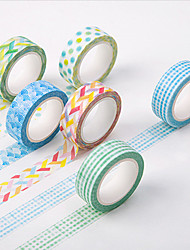 6PCS DIY Decorative Tape Masking Adhesive Tape Scrapbooking Diary Wall Decorative stickers 8M
