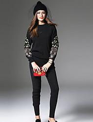 T-shirt Pantalone Completi abbigliamento Da donna Casual Semplice Inverno Autunno,Animal Ricamato Rotonda Con ricami Manica lunga
