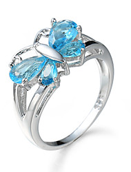 Fashion Shiny Blue Red Topaz CZ Multi-Color Silver Ring Size 6 7 8 9 10 11 Beautiful Butterfly For Women's Handmade Jewelry