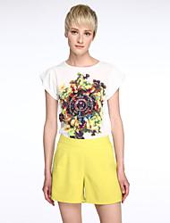 Set Aux femmes Fleur Manches Courtes Col Arrondi Polyester