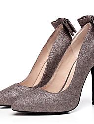 Women's Heels Spring Fall T-Strap Glitter Wedding Dress Party & Evening Stiletto Heel Bowknot Gray Champagne