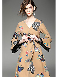Women's Going out Casual/Daily Formal Sophisticated Sheath Dress,Floral V Neck Knee-length Long Sleeve Brown Cotton PolyesterSpring