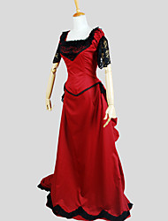 One-Piece/Dress Gothic Lolita Victorian Cosplay Lolita Dress Solid Short Sleeve Floor-length Tuxedo For Cotton Microfiber