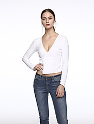 Women's Casual/Daily Street chic Summer Blouse,Solid Deep V Long Sleeve White / Black Cotton Medium