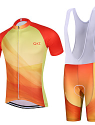 Sports QKI China Cycling Jersey with Bib Shorts Men's Short Sleeve BikeBreathable / Quick Dry / Anatomic Design / Back Pocket /3D Coolmax Gel Pad