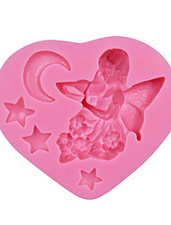 Angle Girl Moon Fondant Cake Mold Decoration Fondant Mould Baby Feeding Bottle Silicone Soap Candle Molds SM-151