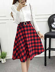 Women's Plaid Red / White SkirtsSimple Midi