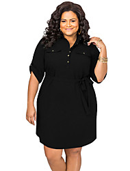Women's Plus Size Belted Textured Shirt Dress