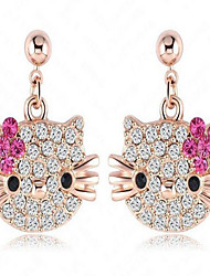 Women's Stud Earrings Crystal Fashion Cute Style Alloy Animal Shape Cat Jewelry For Daily