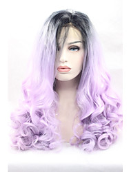 synthétique lace front perruques racines noires cheveux pourpre perruques synthétiques ondulées grises ombre