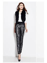 Feminino Skinny Chinos Calças-Estampado Casual Simples Cintura Média Com Cordão Algodão Com Elástico Inverno