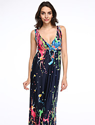 Women's Holiday / Plus Size Boho Swing Dress,Rainbow Strap Maxi Sleeveless Blue Cotton / Polyester Summer
