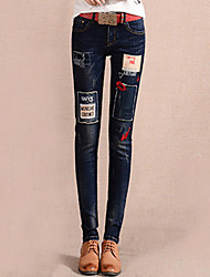 Women's Skinny Jeans Pants,Going out Street chic Solid Patchwork High Rise Button Cotton Inelastic Winter
