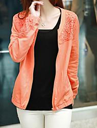 Women's Casual/Daily Cute Jackets,Solid Round Neck Long Sleeve Spring / Fall Gray / Orange Cotton / Nylon Medium