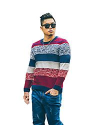 Men's Casual/Daily Simple Regular Pullover,Jacquard Red Round Neck Long Sleeve Rayon Fall / Winter Medium Micro-elastic