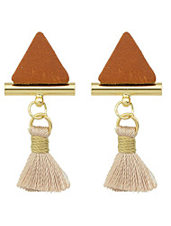Imitation Gemstone Triangle Earrings