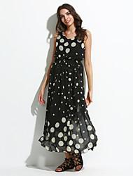 Women's Casual/Maxi Inelastic Sleeveless Maxi Dress (Chiffon)