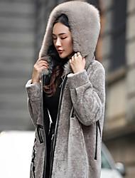 Европа станция стрижку овец шуба девочки длинный абзац женский кожаный с капюшоном пальто шерсти 2016