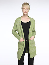 Women's Casual/Daily Simple Fashion Slim Loose Long Cardigan,Solid Pink / Black / Green Cowl Long Sleeve
